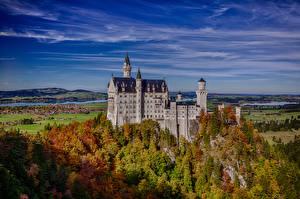 Обои Германия Замки Нойшванштайн Небо Бавария Природа