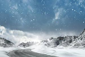 Картинки Зима Горы Дороги Небо Снег Снежинки Природа