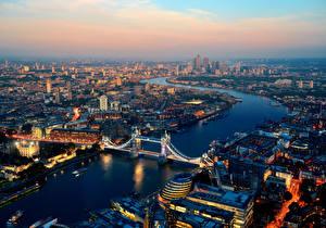 Фото Великобритания Дома Река Мост Рассвет и закат Англия Лондоне Мегаполиса Сверху город