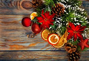 Фотография Корица Праздники Новый год Шар Шишки Еда