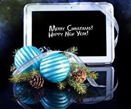 Картинка Праздники Рождество Шар Шишки Лента