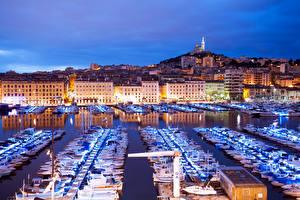 Фото Франция Здания Реки Пирсы Яхта Парусные Лодки Катера Марсель Ночные Города