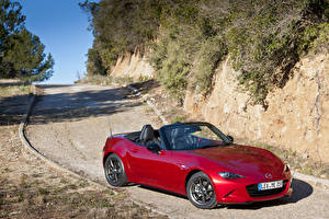 Фотографии Mazda Дороги Бордовый Металлик Кабриолет 2015 Mazda MX-5 Автомобили