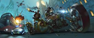 Фото Overwatch Полицейские oadhog Junkrat Mako Rutledge Jamison Fawkes junkers Игры Фэнтези Мотоциклы
