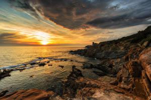 Обои Италия Берег Рассветы и закаты Облака Природа