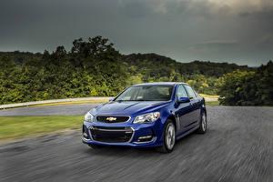 Обои Шевроле Синих Металлик Скорость 2016 Chevrolet SS машина