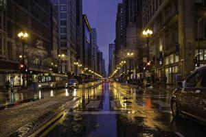 Обои США Дома Дороги Улица Ночные Уличные фонари Чикаго город Города