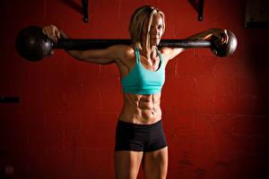 Обои Фитнес Тренировка weight bar abs Девушки