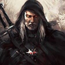 Обои The Witcher Воители Мужчины Геральт из Ривии Капюшон Игры фото
