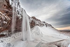 Картинка Горы Водопады Снег Скала Природа