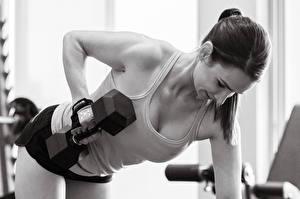 Фотографии Фитнес Гантели Майке Физическое упражнение Спорт Девушки