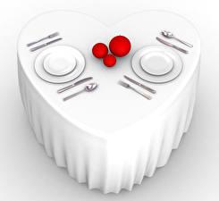 Фото Праздники День святого Валентина Сервировка Стол Сердечко Тарелка Шарики 3D Графика