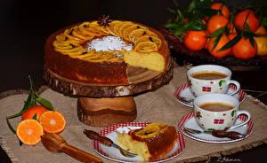 Фотографии Выпечка Пирог Кофе Апельсин Чашке Тарелке Еда