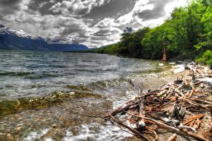 Обои Аргентина Побережье Море Горы Облака HDR Patagonia Природа фото