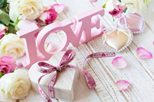Фотографии Праздники День всех влюблённых Роза Подарков Сердца Лепестков цветок
