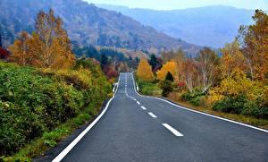 Картинка Осенние Дороги Горы Природа