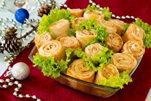 Картинка Блины Рулет Овощи Еда
