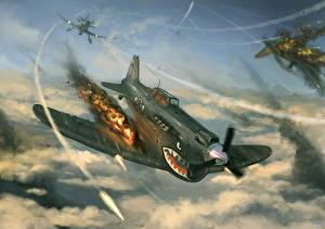 Картинки Самолеты Рисованные Истребители Война Выстрел Sharks of the Sky Авиация