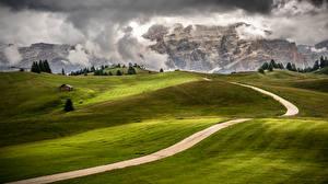 Картинки Италия Пейзаж Горы Луга Дороги Trentino Alto Adige Природа