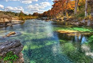 Обои Штаты Речка Осень Камни Техас Деревья Frio River Природа