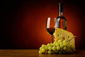Обои для рабочего стола Вино Виноград Сыры Бокал Бутылка Пища