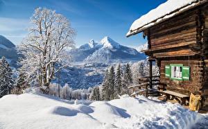 Фотографии Зимние Гора Дома Снег Деревьев Скамья Природа
