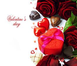 Фотография День святого Валентина Роза Конфеты Шоколад Бордовый Подарков Сердечко Бант цветок