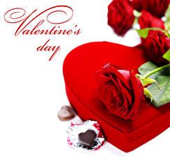 Картинка День святого Валентина Роза Конфеты Шоколад Красные Сердца Подарки цветок