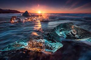 Обои Исландия Море Рассветы и закаты Лед Горизонт Природа
