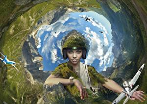 Фотография Самолеты Креатив aviation earth air pilot effects Девушки