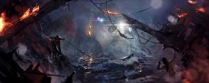 Картинка Tomb Raider Катастрофы Лара Крофт компьютерная игра Фэнтези