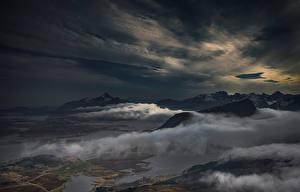 Картинка Пейзаж Гора Облачно Ночь Природа