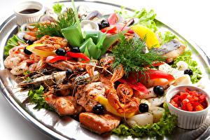 Обои Салаты Креветки Раки Рыба Овощи Укроп Морепродукты Еда