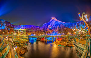 Картинка Токио Япония Парки Горы Ночь город