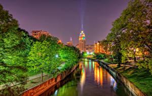 Обои США Дома Техас Водный канал Ночные Уличные фонари Деревья HDR San Antonio Города