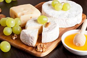 Картинки Сыры Виноград Орехи Мед Продукты питания