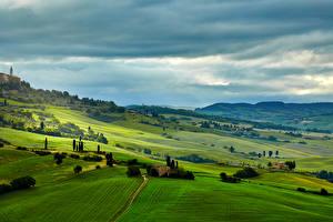 Картинка Италия Пейзаж Поля Луга Тоскана Холмы Природа