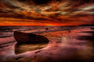 Обои Побережье Камни Море HDR Природа фото