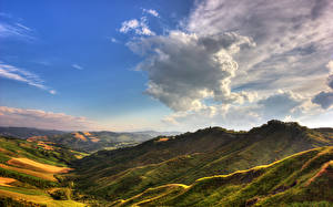 Картинка Горы Небо Пейзаж Луга Облако Природа