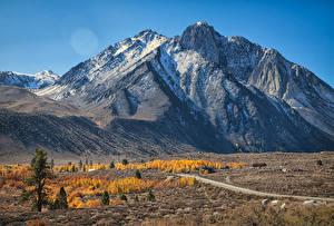 Фотографии Горы Дороги Осень Природа