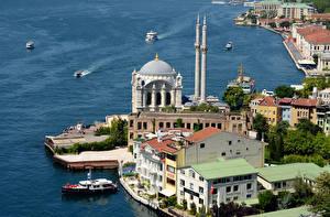 Обои Дома Турция Стамбул Сверху Города фото