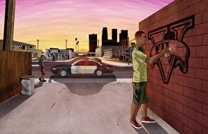 Фотографии GTA 5 Граффити Векторная графика Полицейские Игры