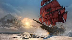 Картинки Корабли Парусные Горы Assassin