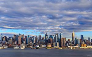 Фотография Здания Небоскребы США Облачно Манхэттен Нью-Йорк город