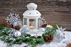 Фотография Свечи Праздники Рождество Шар Снежинки Шишки Фонарь