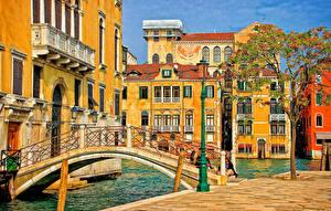 Картинка Мосты Дома Италия Улица Водный канал Венеция Города