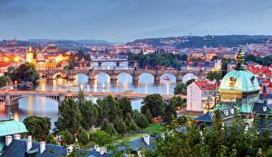 Фотографии Прага Чехия Дома Река Мост Карлов мост Города