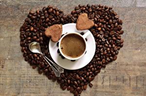 Фотография Напитки Кофе Печенье Сердце Чашка Ложка Зерна