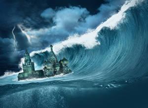 Картинки Волны Апокалипсис Катастрофы Московский Кремль Фэнтези