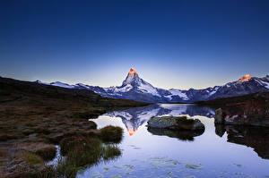 Фотография Горы Небо Озеро Швейцария Италия Matterhorn Природа